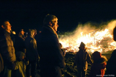 - a bonfire in reykjavik on new year's eve -