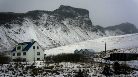 - perched ideally on a hill is vík hostel -