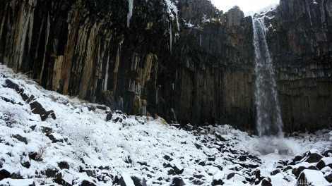 -svartifoss is coated in ice and snow -