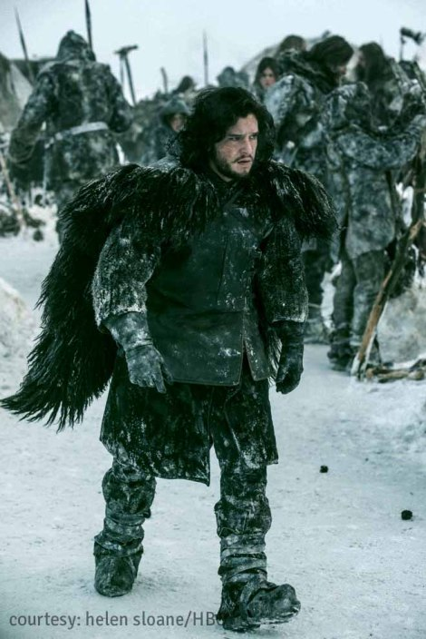 Kit Harington as Jon Snow, a member of the Knight's Watch