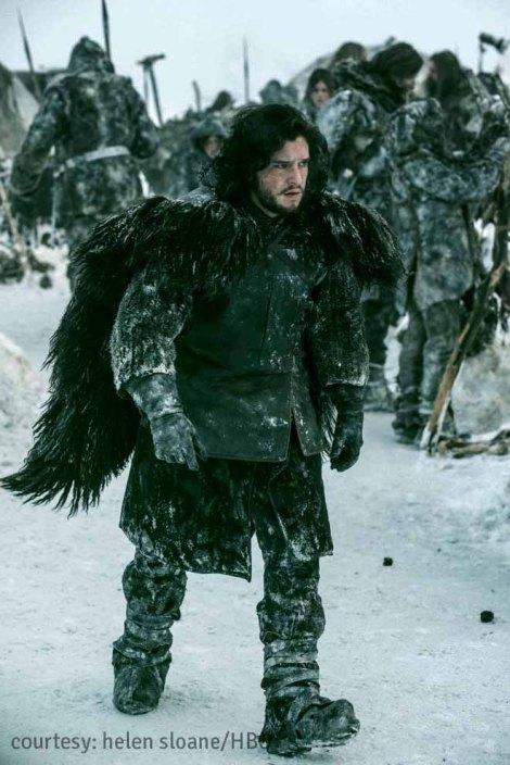 Kit Harington as Jon Snow, a member of the Knight's Watch